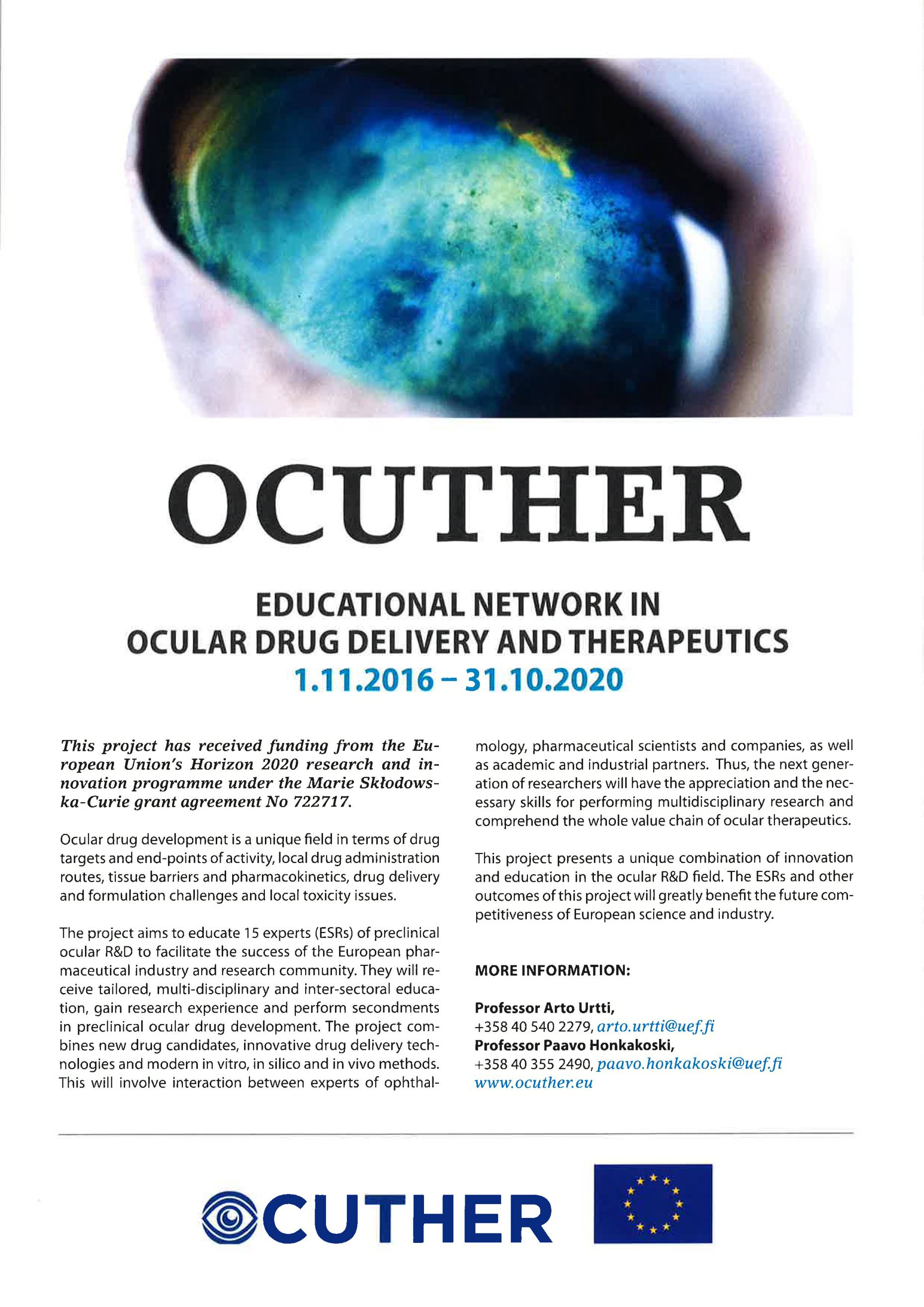 OcuTher flyer with information on the project, including the picture of an eye, the OcuTher logo and EU-flag